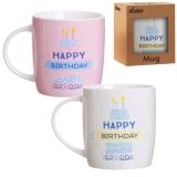 MUG HAPPY BIRTHDAY 8.3X8.3X10 ROSA