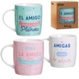 MUG AMIGAS & RISAS 4 EVER 8.3X8.3X10 BLANCO