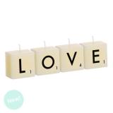 JUEGO 4 VELAS LETRAS LOVE 22X5.5